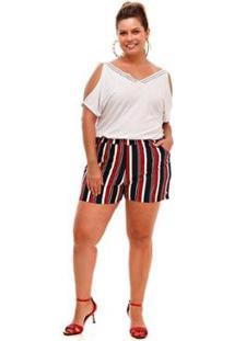 Vestido Melinde Plus Size Fenda Ilhós - Feminino-Vermelho
