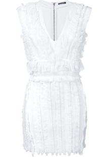 Balmain Vestido Com Franjas - Branco