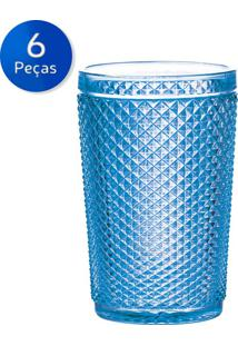 Conjunto 6 Copos Alto De Vidro 355Ml Bico De Jaca - Bohemia - Azul