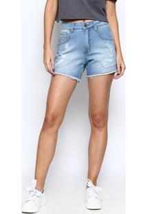 Bermuda Jeans Com Puídos - Azul Claro - Sommersommer