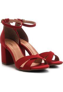 Sandália Griffe Salto Grosso Tira Cruzada Feminina - Feminino-Vermelho Escuro