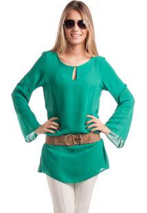 Tunica Marcia Mello Com Metais Verde