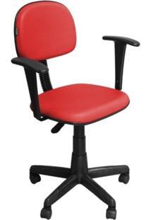 Cadeira De Escritório Pethiflex Cs-02Bt Secretária Giratória Braço Fixo Preta Vermelha
