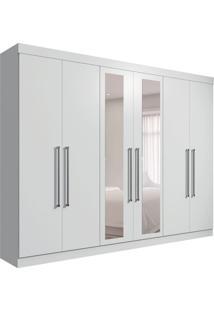 Guarda-Roupa Casal Com Espelho Giovana 6 Pt Branco
