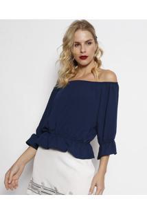 Blusa Ciganinha Com Elásticos- Azul Marinhocarmen Steffens