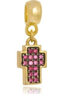 Pingente Boca Santa Semijoias Crucifixo Italia Rubi - Ouro Amarelo