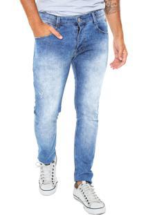 Calça Jeans Gangster Slim Bordado Azul