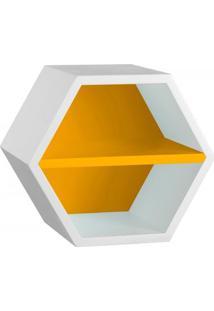 Nicho Hexagonal 1 Prateleira Favo Maxima Branco/Amarelo
