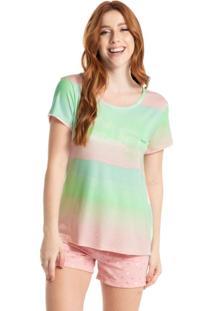 Pijama Curto Estampado Candy - Rosa-3/M