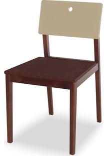 Cadeira Flip Cor Cacau Com Encosto Bege - 31129