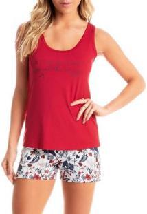 Conjunto Pijama Daniela Tombini Flower Feminino - Feminino-Vermelho