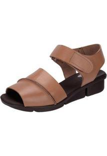 Sandália Danflex Calçados Anabela Feminina - Feminino-Marrom Claro