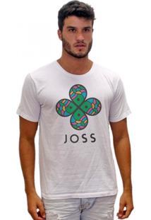 Camiseta Joss Estonada Flor Colorida Branco