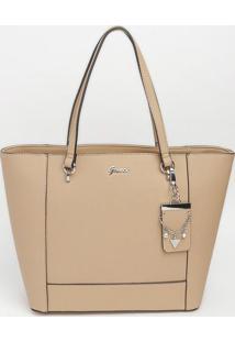 Bolsa Com Bag Charm Com Recortes- Nude- 26X45X13Cm