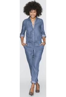 Macacão Jeans Azul Médio
