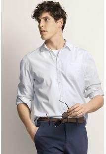 Camisa Masculina Em Tecido Maquinetado De Algodão Com Bolso