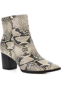 Bota Cano Curto Shoestock Salto Bloco Snake Feminina - Feminino-Bege