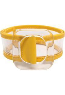Cinto Birô Reto Cristal Feminina - Feminino-Amarelo