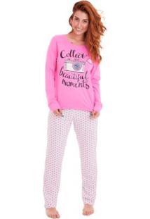 Pijama Longo Feminino Em Algodão Luna Cuore - Feminino-Pink
