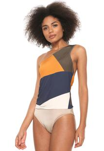 Body Forum Color Block Ombro Único Azul-Marinho
