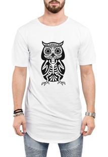 Camiseta Criativa Urbana Long Line Oversized Caveira Esquelética Tattoo - Masculino-Branco