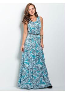 Vestido Longo Cashmere Azul Com Franzidos