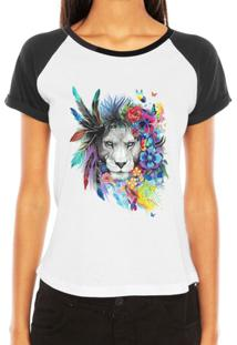 Camiseta Criativa Urbana Raglan Leoa Psicodélica - Feminino