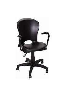 Cadeira Com Braço E Rodizio Tramontina Jolie Preta Preto