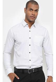Camisa Jab Casual Estampada Manga Longa Masculina - Masculino-Branco