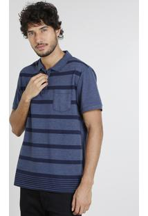 Polo Masculina Com Listras E Bolso Manga Curta Azul Marinho