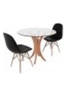 Conjunto Mesa De Jantar Tampo De Vidro 90Cm Com 2 Cadeiras Botonê - Preto