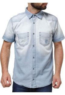 Camisa Jeans Manga Curta Masculina Azul Claro