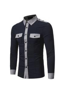 Camisa Social Masculina Slim Europe - Preta