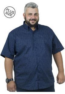 Camisa Plus Size Bigshirts Manga Curta Galho - Azul