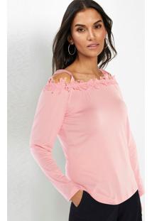 Blusas Ombros Vazados Com Renda Rosa Claro
