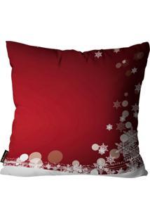 Capas Para Almofada Premium Cetim Mdecore Natal Flocos De Neve Vermelha 45X45Cm - Tricae