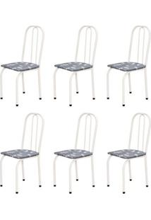 Kit 6 Cadeiras Baixas 0.101 Assento Reto Branco/Cinza Claro Floral - Marcheli