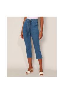 Calça Jeans Feminina Sawary Reta Cropped Cintura Alta Com Faixa Para Amarrar Azul Médio