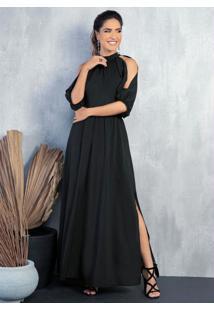Vestido Longo Preto Com Mangas Vazadas