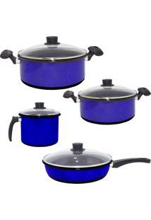 Conjunto De Panelas Esmaltadas, Caneco E Frigideira Azul De Agatha Com 4 Tampas De Vidro - Kanui