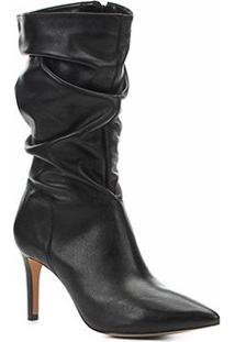 Bota Slouch Shoestock Couro Salto Alto Feminina - Feminino-Preto
