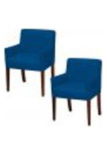 Kit 02 Poltronas Decorativas Para Sala De Estar E Recepção Joy D02 Tressê Veludo Azul B-170 - Lyam Decor