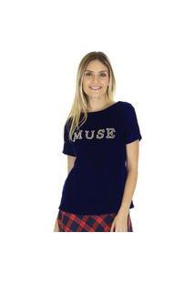 Camiseta T-Shirt Veludo Muse Azul - Preta