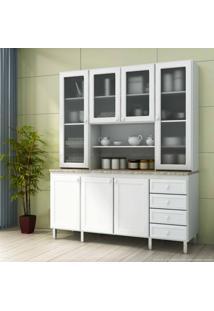 Cristaleira 7 Portas E 4 Gavetas Com Vidro Classic Branco/Desenho De Granito Alicante - Urbe Móveis
