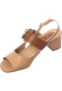 Sandália Butique De Sapatos Nude Detalhe Fivela Caramelo