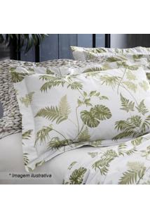 Jogo De Cama Tropical King Size- Branco & Verde- 4Pçsultan