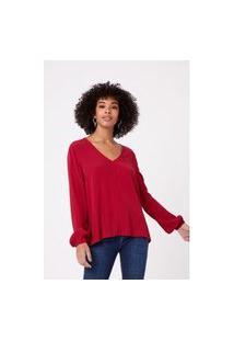 Blusa Bata Bicolor Vermelho Bordeaux - 38