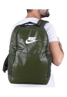 Mochila Nike Brasilia M 9.0 Mtrl - 24 Litros - Verde Esc/Branco