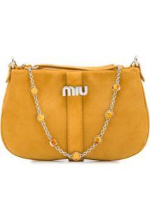 Miu Miu Bolsa Tiracolo De Camurça - Amarelo