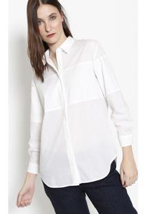 Camisa Com Recortes & Seda- Off White- Lacostelacoste